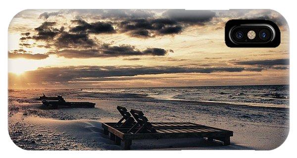 Blue And Orange Sunrise On The Beach IPhone Case