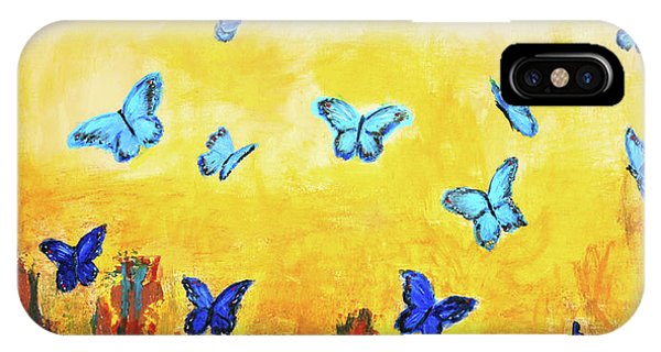 Blue And Red Butterflies IPhone Case