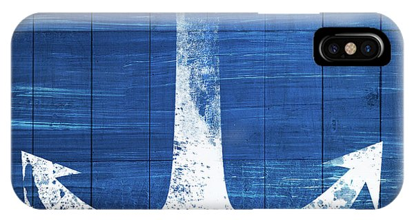 Blue And White iPhone Case - Blue And White Anchor- Art By Linda Woods by Linda Woods