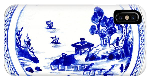 Forbidden City iPhone Case - Blue And White Chinese Chinoiserie Plate 2 by Laura Row