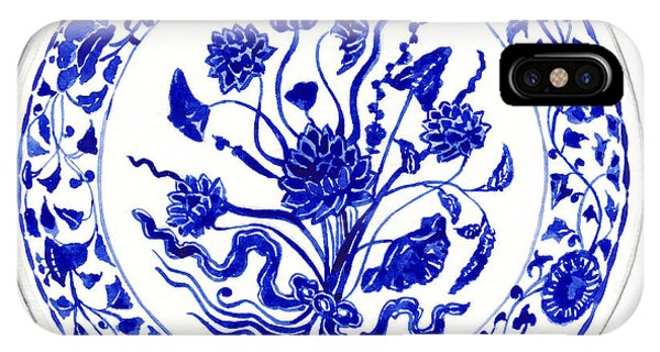 Cobalt Blue iPhone Case - Blue And White Chinese Chinoiserie Plate 4 by Laura Row