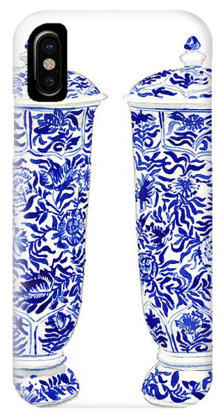 Lid iPhone Case - Blue And White Chinoiserie Vases by Laura Row