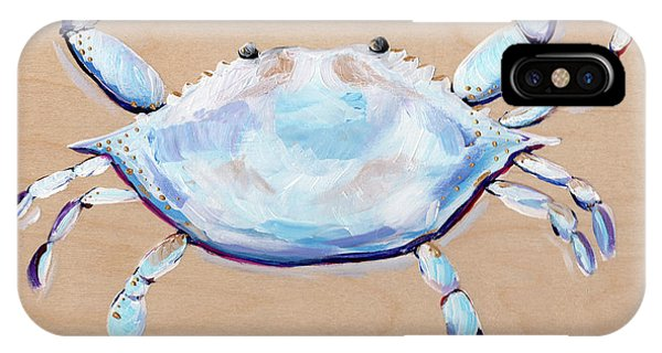 Damage iPhone Case - Blue And White Crab by Anne Seay