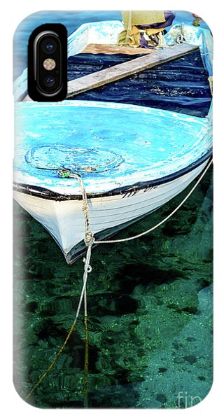 Blue And White Fishing Boat On The Adriatic - Rovinj, Croatia IPhone Case