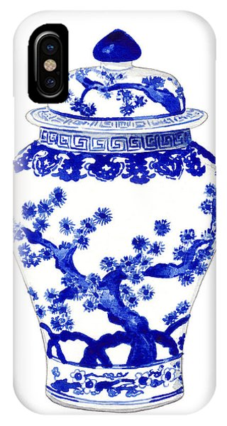 Cobalt Blue iPhone Case - Blue And White Ginger Jar Chinoiserie 10 by Laura Row