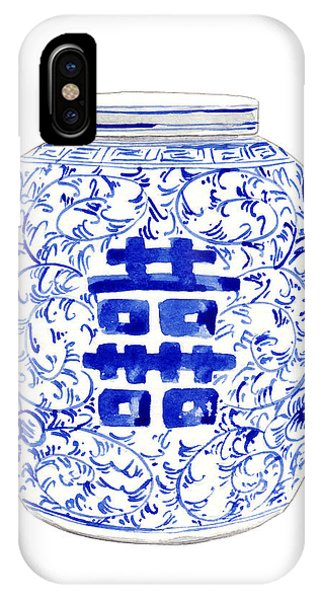 Forbidden City iPhone Case - Blue And White Ginger Jar Chinoiserie 8 by Laura Row