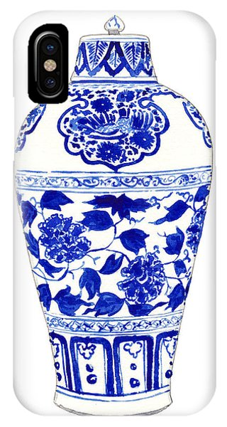Cobalt Blue iPhone Case - Blue And White Ginger Jar Chinoiserie Jar 1 by Laura Row