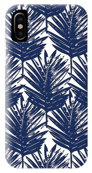 Leaf iPhone Case - Blue And White  Palm Leaves 3 - Art By Linda Woods by Linda Woods