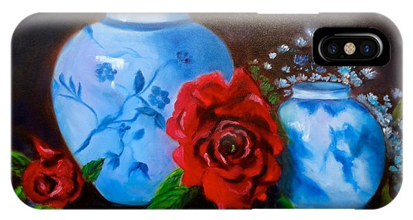 Blue And White Pottery And Red Roses IPhone Case