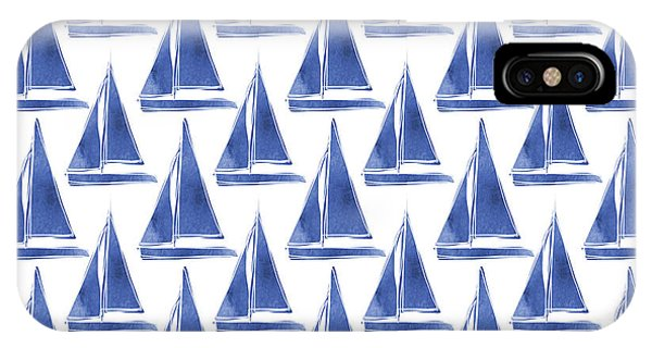 Watercolor iPhone Case - Blue And White Sailboats Pattern- Art By Linda Woods by Linda Woods