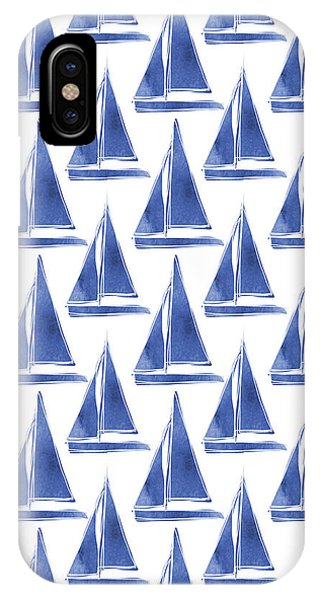 Boats iPhone Case - Blue And White Sailboats Pattern- Art By Linda Woods by Linda Woods