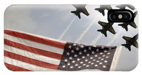 IPhone Case featuring the photograph Blue Angels Soars Over Old Glory As They Perform The Delta Formation by Celestial Images