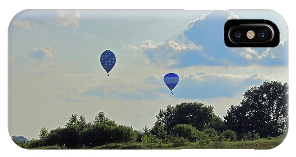 IPhone Case featuring the photograph Blue Balloons Over A Field by Angela Murdock