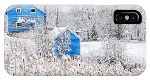 New England Barn iPhone Case - Blue Barns by Bill Wakeley