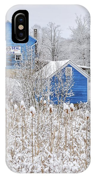 New England Barn iPhone Case - Blue Barns Portrait by Bill Wakeley