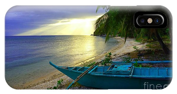 Blue Boat And Sunset On Beach IPhone Case
