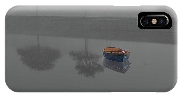 Blue Boat In Fog IPhone Case