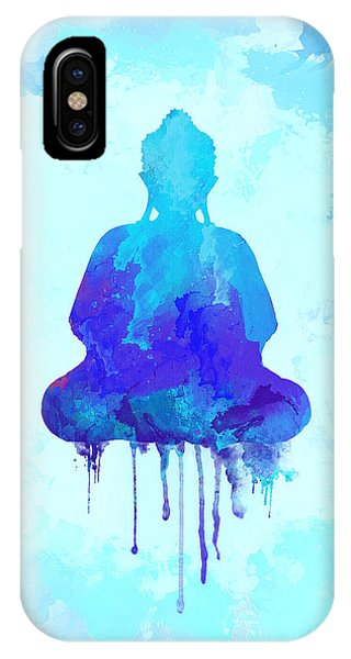 Blue Buddha Watercolor Painting IPhone Case