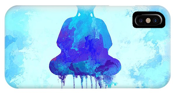 Meditative iPhone Case - Blue Buddha Watercolor Painting by Thubakabra