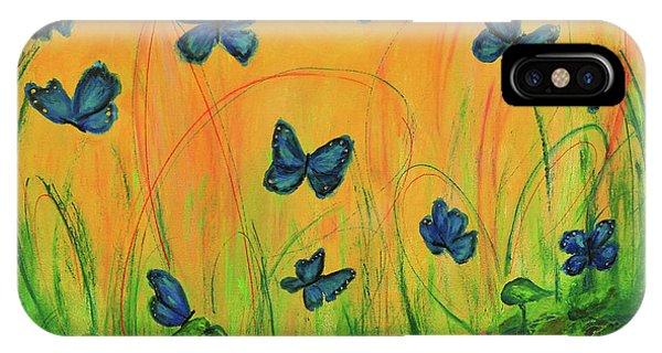 Blue Butterflies In Early Morning Garden IPhone Case