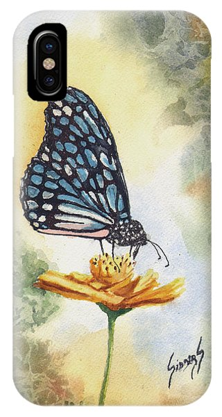 IPhone Case featuring the painting Blue Butterfly by Sam Sidders