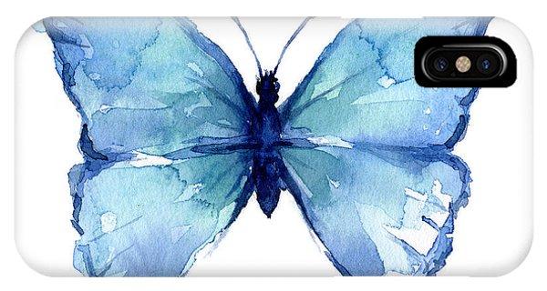 Butterfly iPhone Case - Blue Butterfly Watercolor by Olga Shvartsur