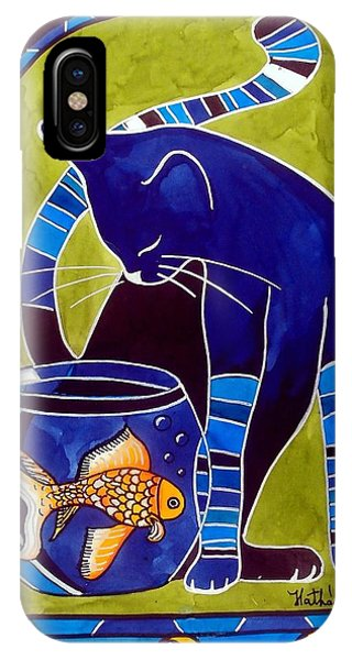 Blue Cat With Goldfish IPhone Case