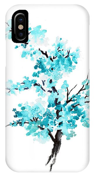 ef1d6533c Blue Cherry Blossom Tree Watercolor Painting Phone Case by Joanna Szmerdt