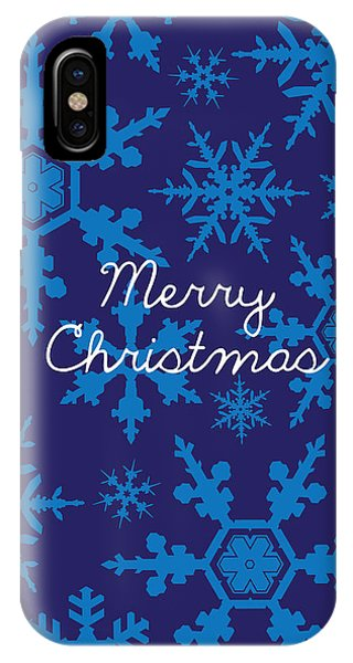 Christmas iPhone Case - Blue Christmas Snowflakes by Kathleen Wong