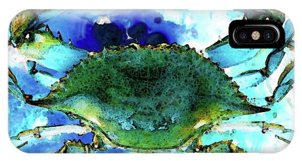 Florida iPhone Case - Blue Crab - Abstract Seafood Painting by Sharon Cummings