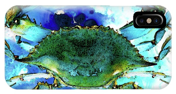 Aqua iPhone Case - Blue Crab - Abstract Seafood Painting by Sharon Cummings
