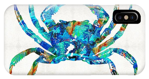 Houses iPhone Case - Blue Crab Art By Sharon Cummings by Sharon Cummings
