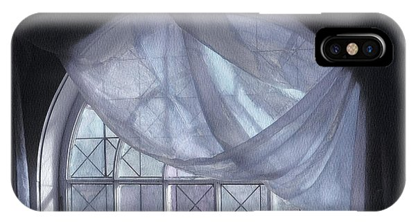 IPhone Case featuring the photograph Hand-painted Blue Curtain In An Arch Window by Wayne King