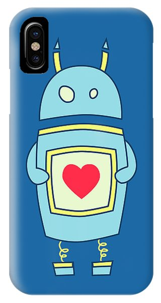 Blue Cute Clumsy Robot With Heart IPhone Case
