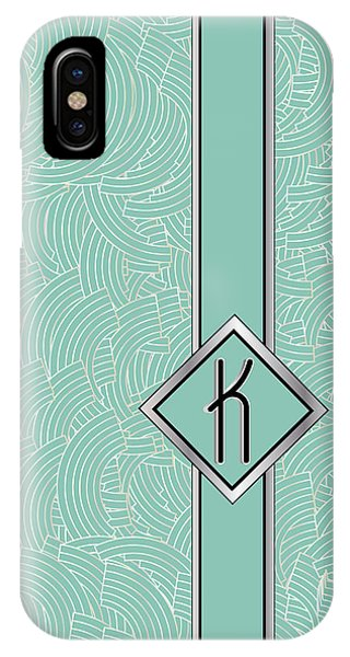 1920s Blue Deco Jazz Swing Monogram ...letter K IPhone Case