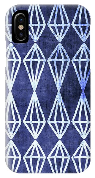 Diamond iPhone Case - Blue Diamond Stripe- Art By Linda Woods by Linda Woods