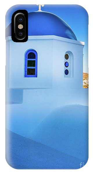 Greece iPhone X Case - Blue Domed Chapel by Inge Johnsson