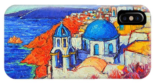 Blue Domes In Oia Santorini Greece Original Impasto Palette Knife Oil Painting By Ana Maria Edulescu IPhone Case