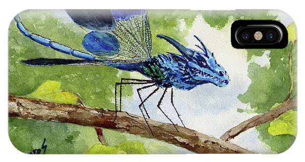 IPhone Case featuring the painting Blue Dragonfly by Sam Sidders