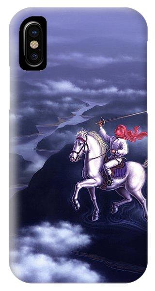 White Horse iPhone Case - Blue Dream by Jerry LoFaro