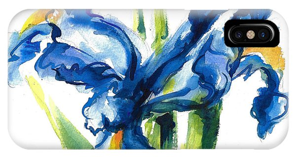 Blue Dutch Iris Flower Painting IPhone Case