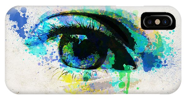Light Paint iPhone Case - Blue Eye Watercolor by Delphimages Photo Creations