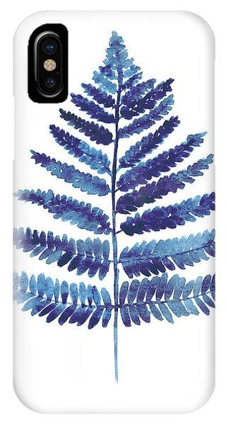 Garden iPhone X Case - Blue Ferns Watercolor Art Print Painting by Joanna Szmerdt