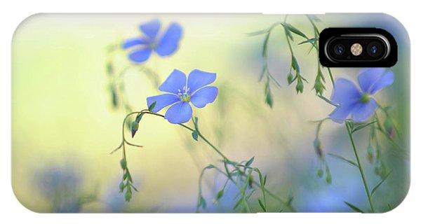 Buy Art Online iPhone Case - Blue Flex Flower by Jenny Rainbow