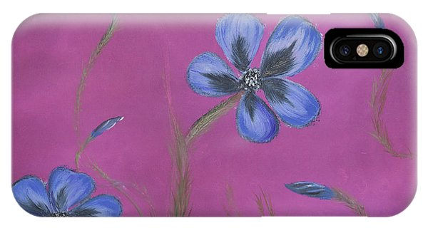 Blue Flower Magenta Background IPhone Case