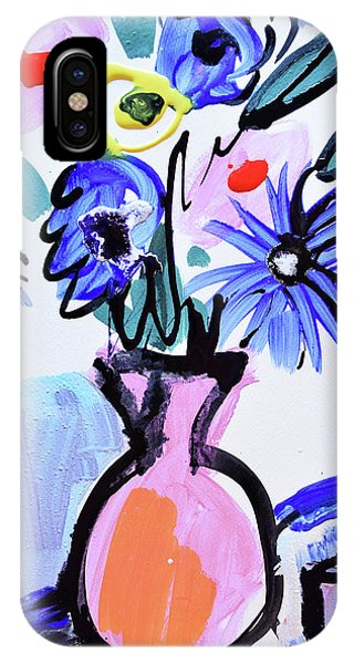 Blue Flowers And Coffee Cup IPhone Case