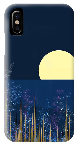 Blue Flowers Bloom At Night IPhone Case