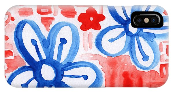 Blue And White iPhone Case - Blue Flowers- Floral Painting by Linda Woods