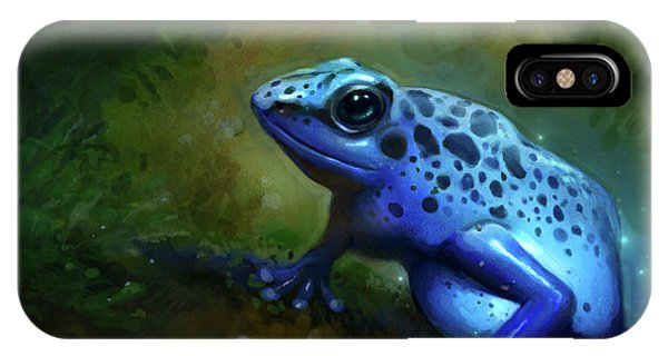 Amphibians iPhone Case - Blue Frog by Caroline Jamhour