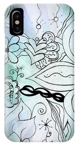 Blue Funky Flower Doodles IPhone Case